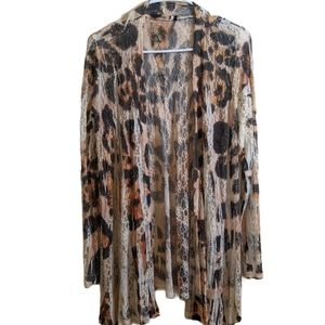 ORIGAMI leopard print lace open front cardigan